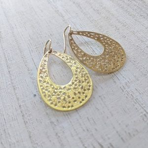 Jewelry - Gold Teardrop Fishhook Earrings